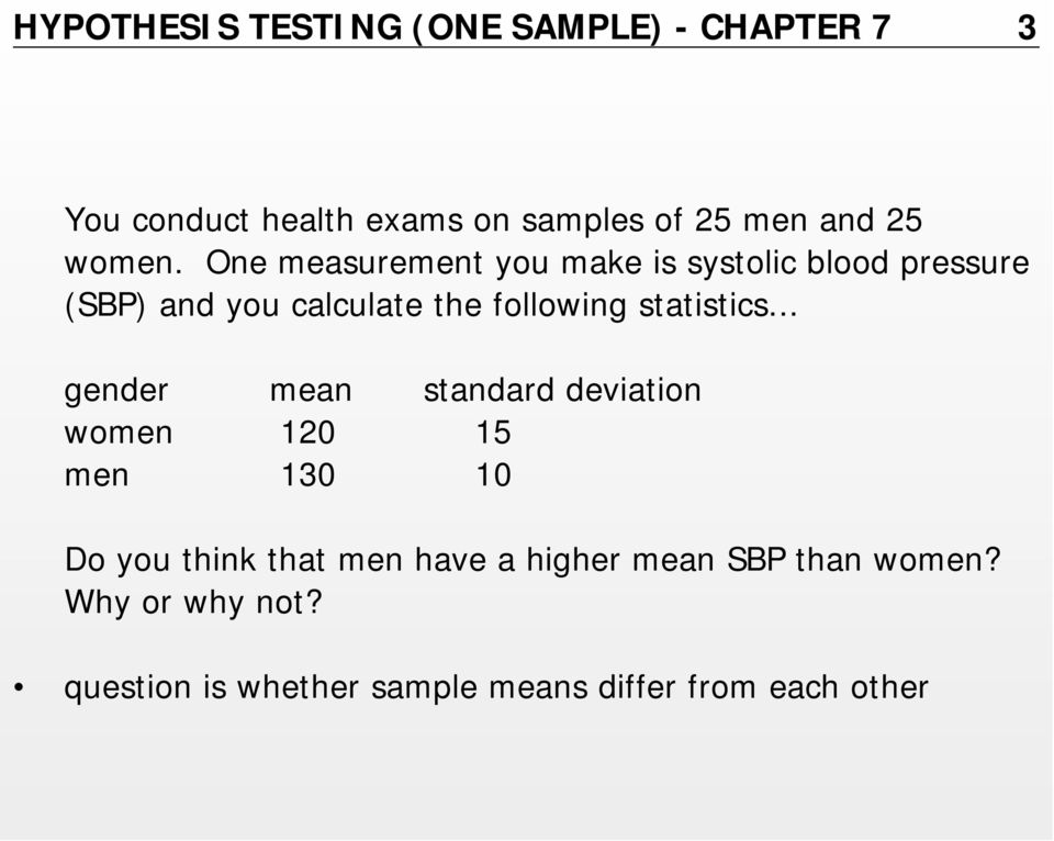 One measurement you make is systolic blood pressure (SBP) and you calculate the following