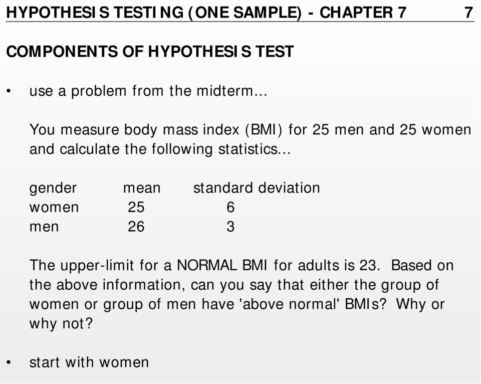.. gender mean standard deviation women 25 6 men 26 3 The upper-limit for a NORMAL BMI for adults is 23.
