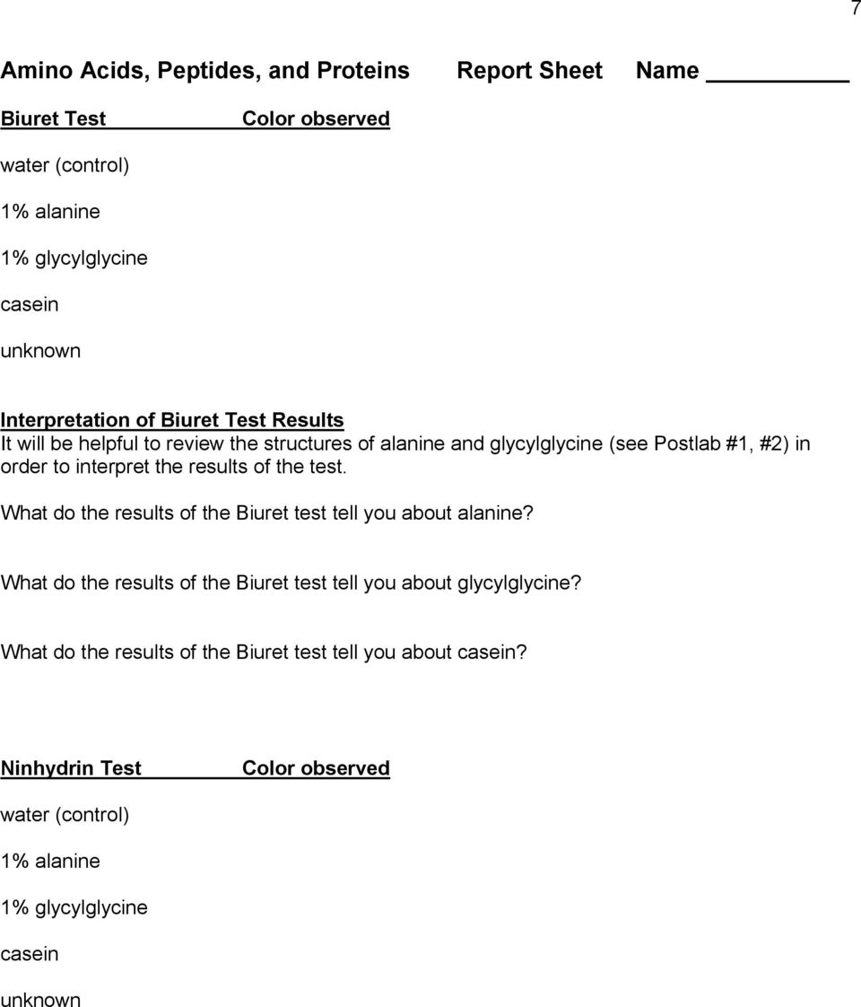 interpret the results of the test. What do the results of the Biuret test tell you about alanine?