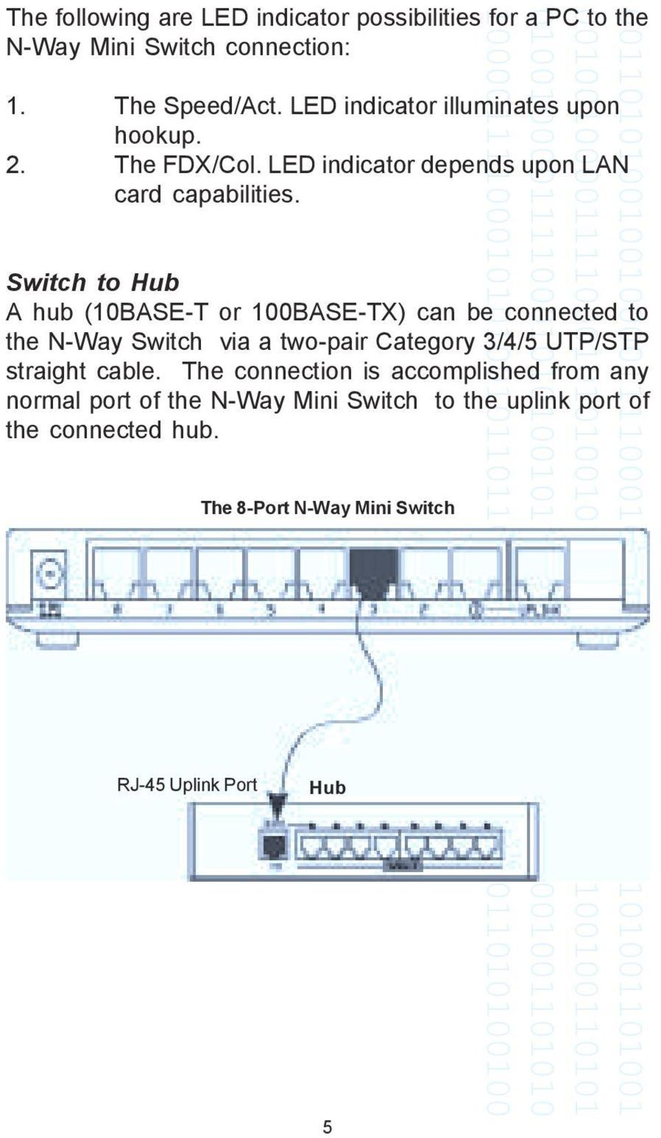 Switch to Hub A hub (10BASE-T or 100BASE-TX) can be connected to the N-Way Switch via a two-pair Category 3/4/5 UTP/STP straight