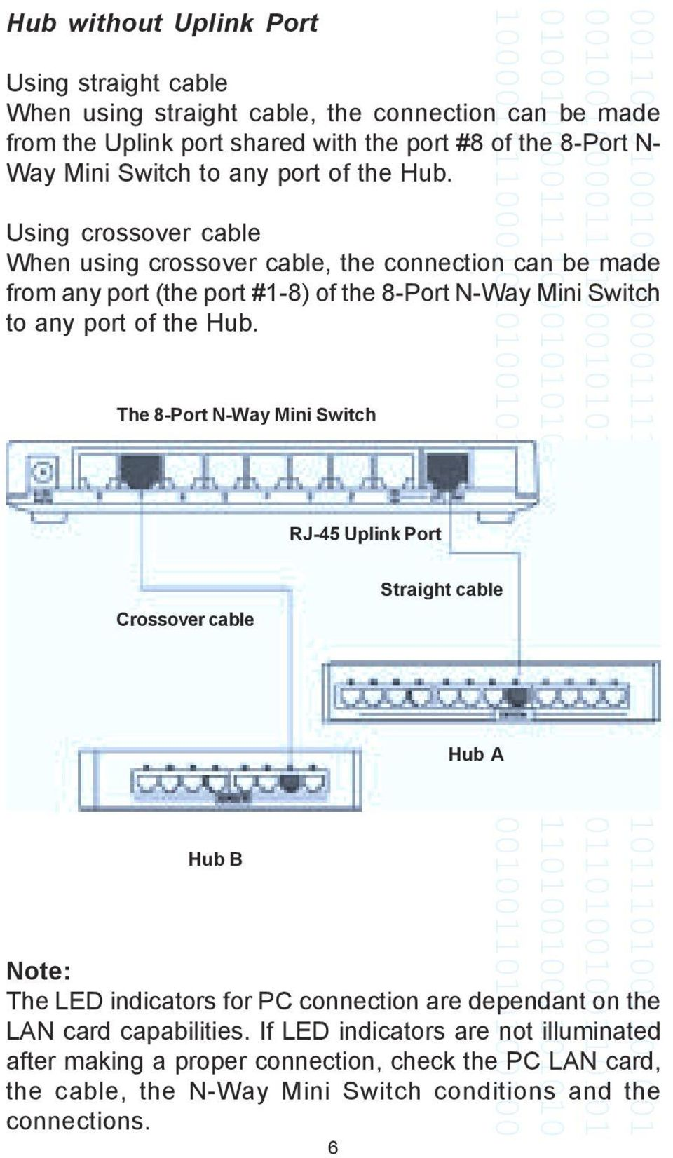 Using crossover cable When using crossover cable, the connection can be made from any port (the port #1-8) of the 8-Port N-Way Mini  The 8-Port N-Way Mini Switch Crossover