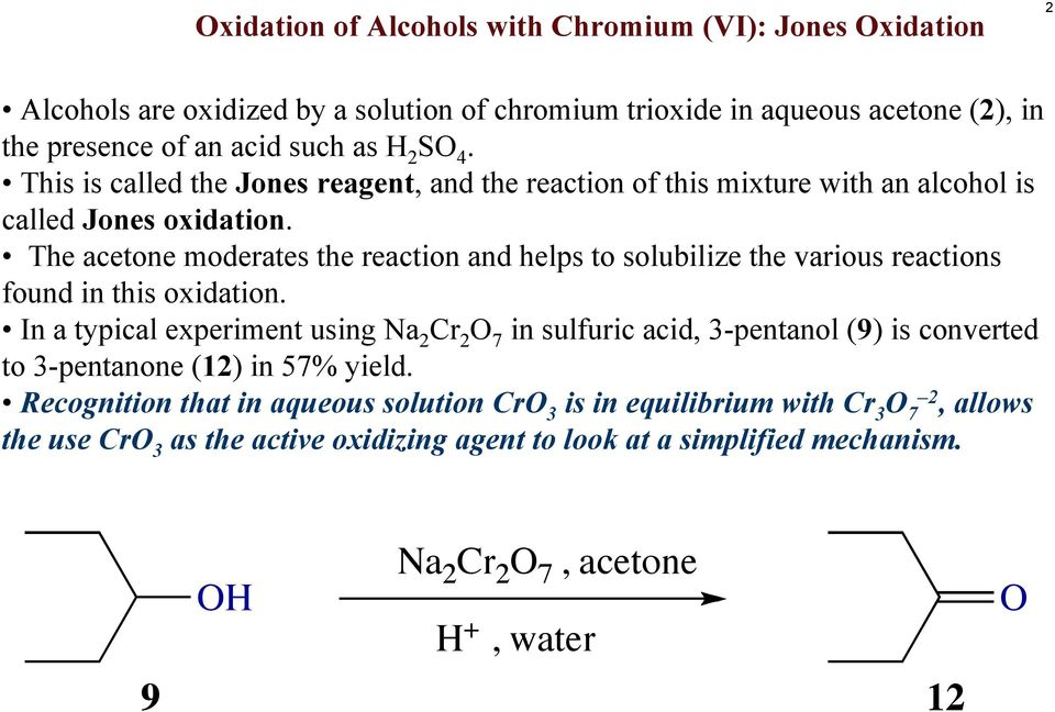 The acetone moderates the reaction and helps to solubilize the various reactions found in this oxidation.
