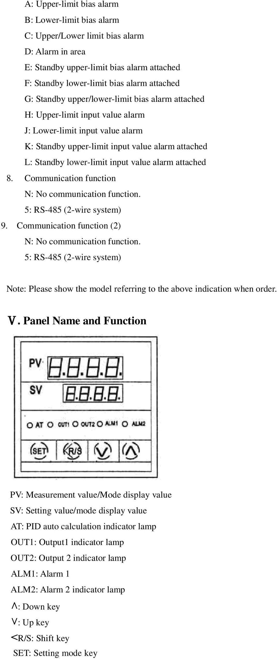attached 8. Communication function N: No communication function. 5: RS-485 (2-wire system) 9. Communication function (2) N: No communication function.