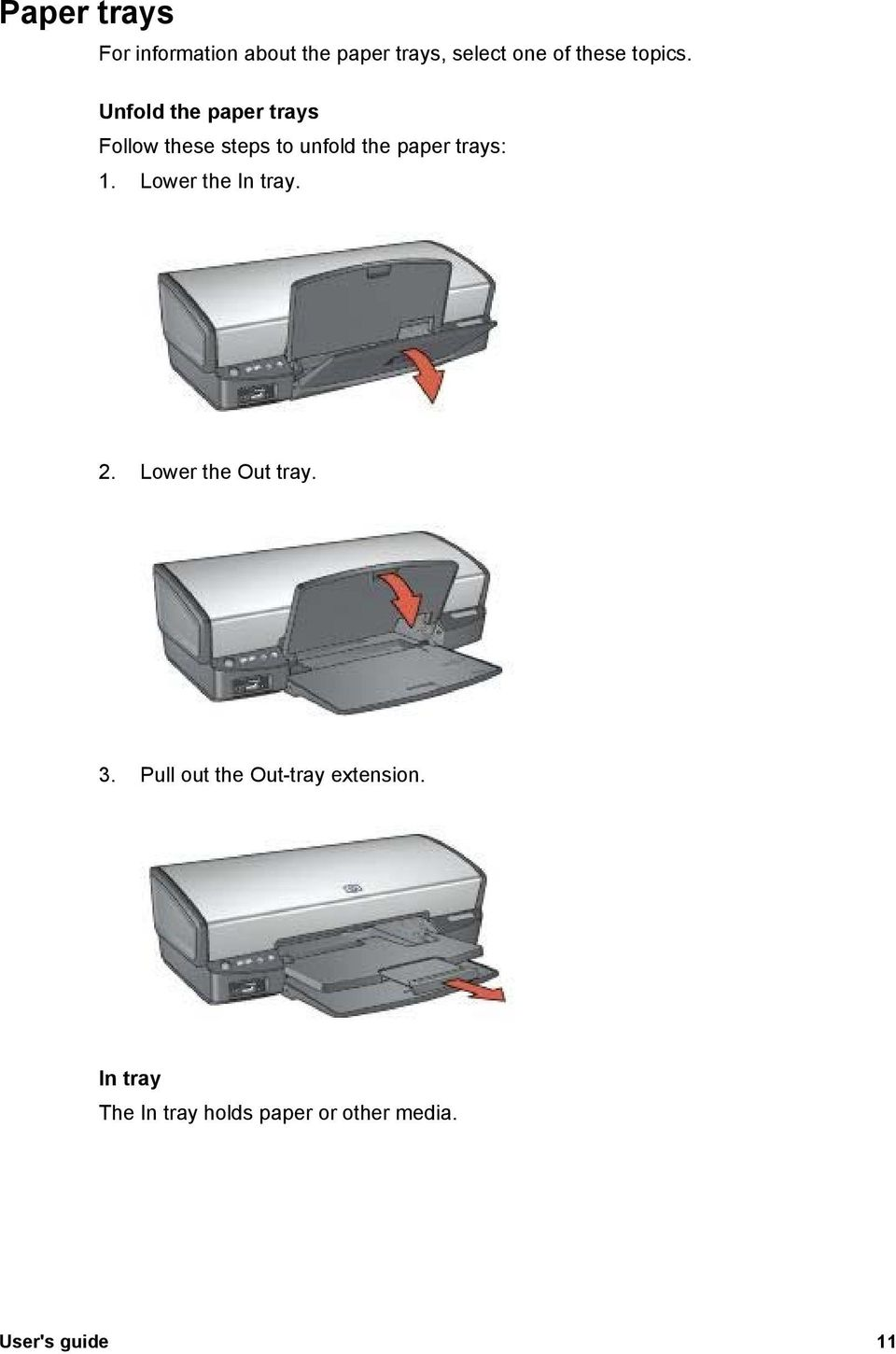Unfold the paper trays Follow these steps to unfold the paper trays: 1.