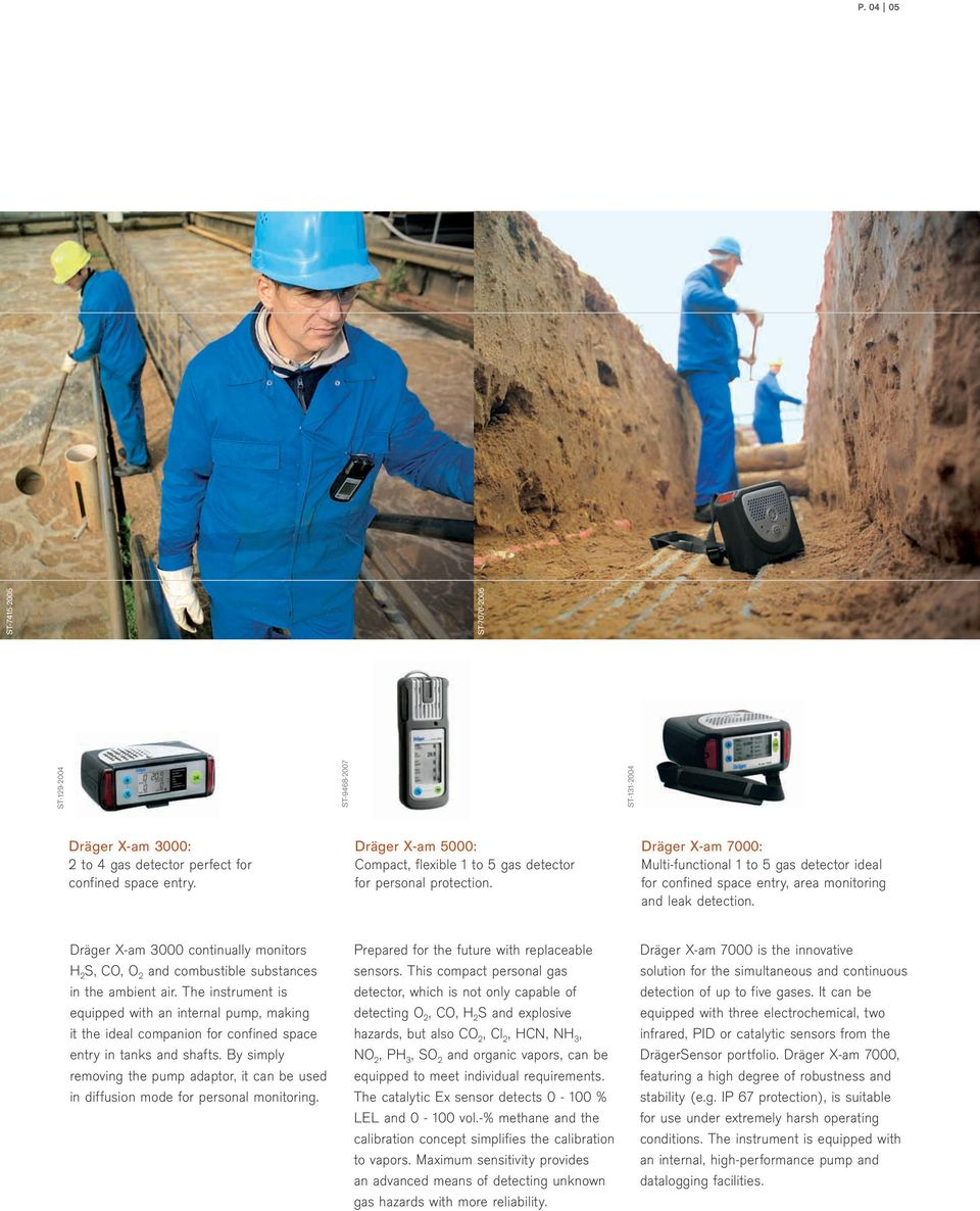 Dräger X-am 7000: Multi-functional 1 to 5 gas detector ideal for confined space entry, area monitoring and leak detection.