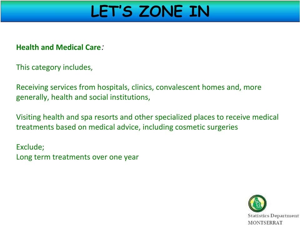 Visiting health and spa resorts and other specialized places to receive medical treatments