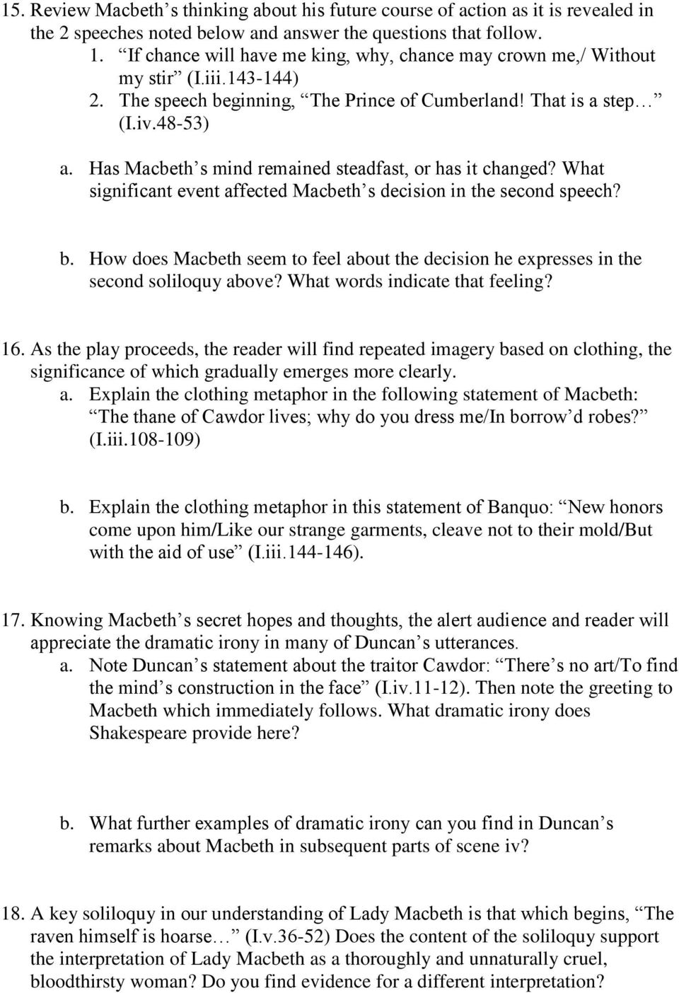 macbeth essay on ambition macbeth courage essay essay macbeth  macbeth study guide questions pdf has macbeth s mind remained steadfast or has it changed what
