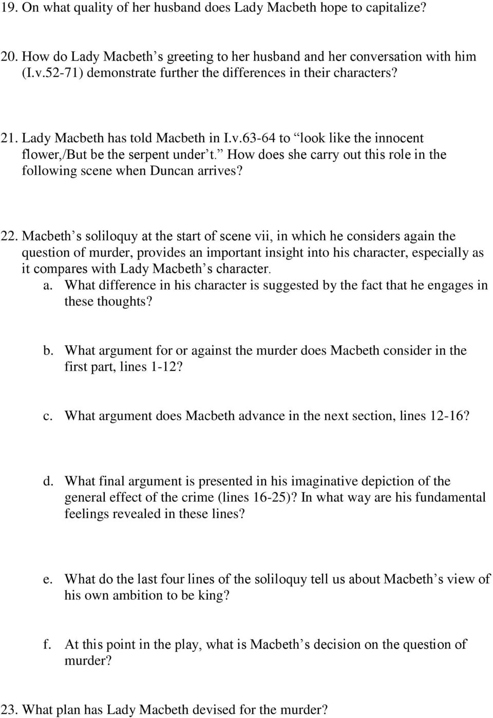 macbeth study guide questions pdf macbeth s soliloquy at the start of scene vii in which he considers again the