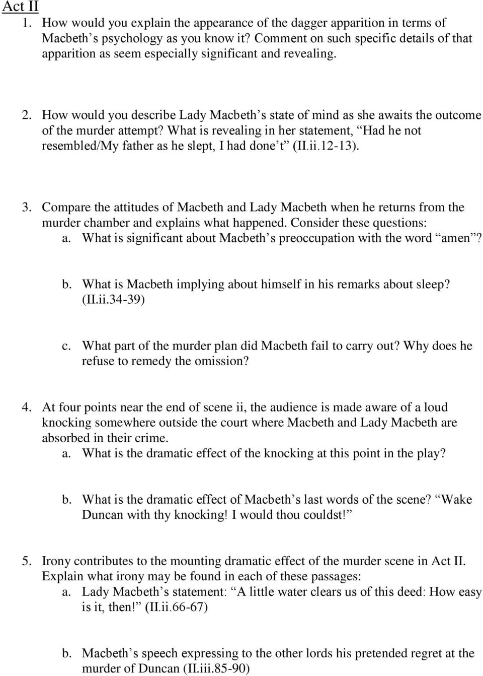 macbeth study guide questions pdf how would you describe lady macbeth s state of mind as she awaits the outcome of