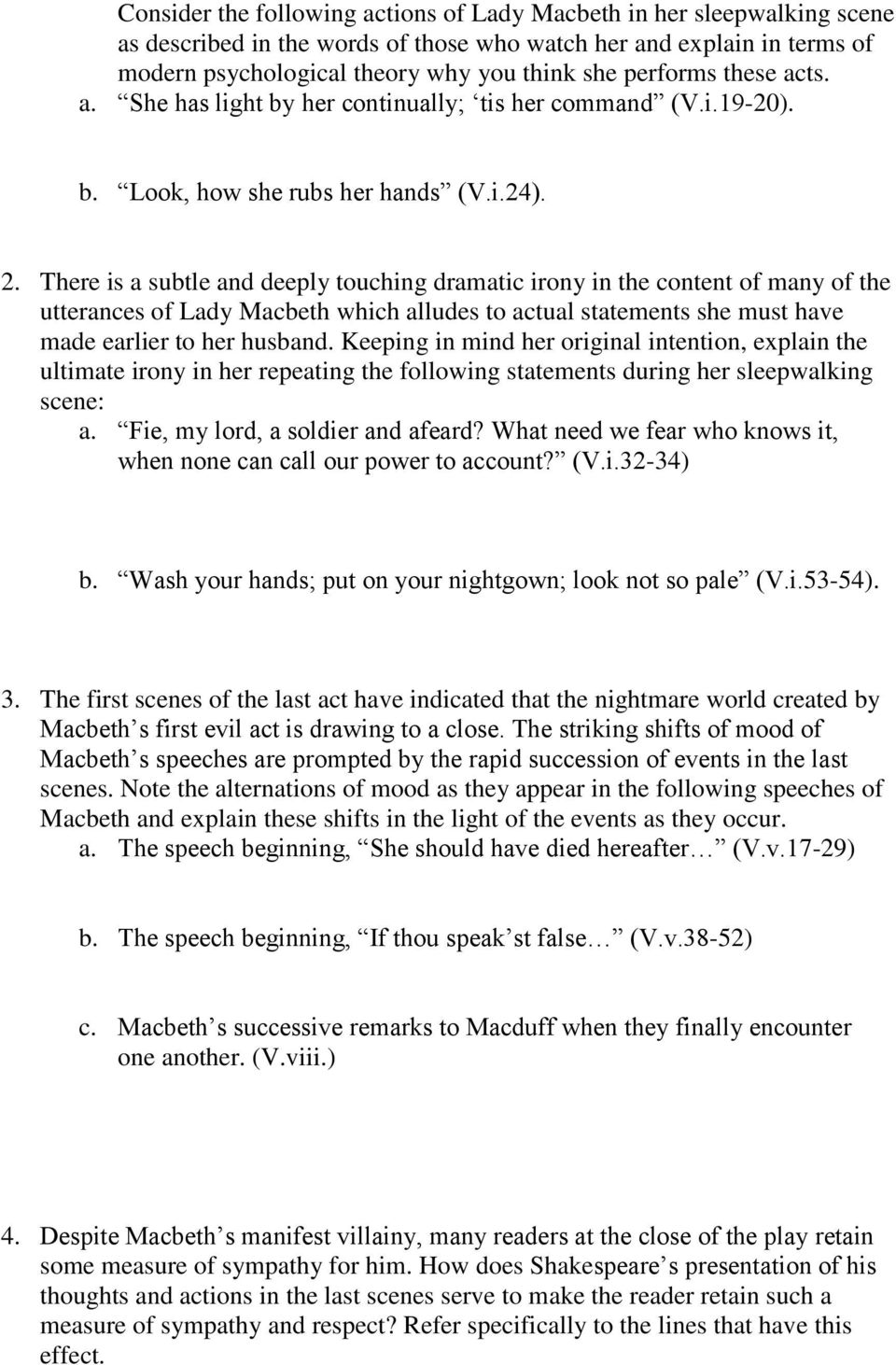 macbeth study guide questions pdf there is a subtle and deeply touching dramatic irony in the content of many of the