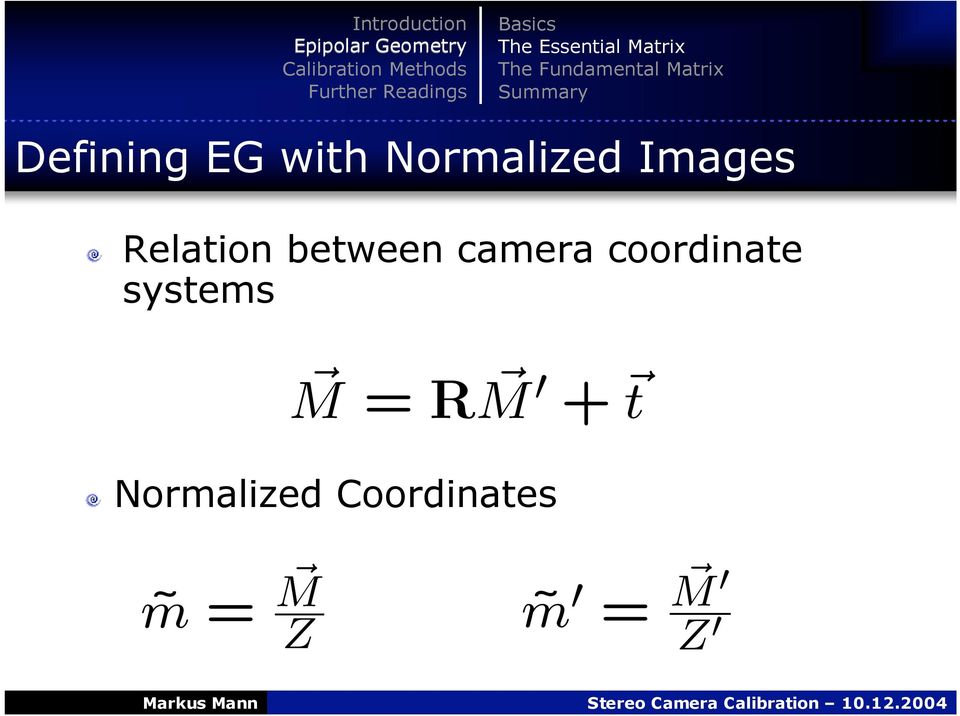 with Normalized Images Relation between