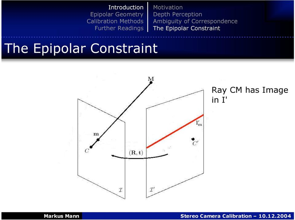 Epipolar Constraint The