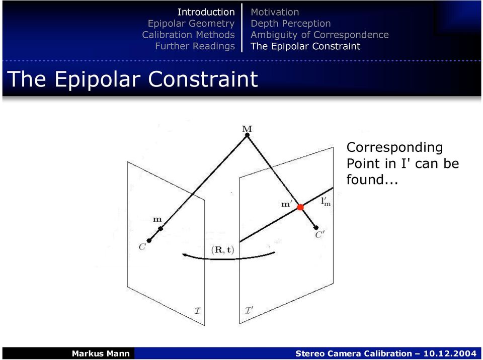 Epipolar Constraint The Epipolar