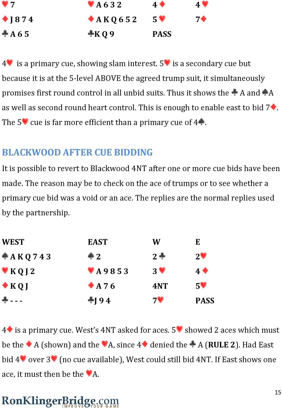 Thus it shows the A and A as well as second round heart control. This is enough to enable east to bid 7. The 5 cue is far more efficient than a primary cue of 4.