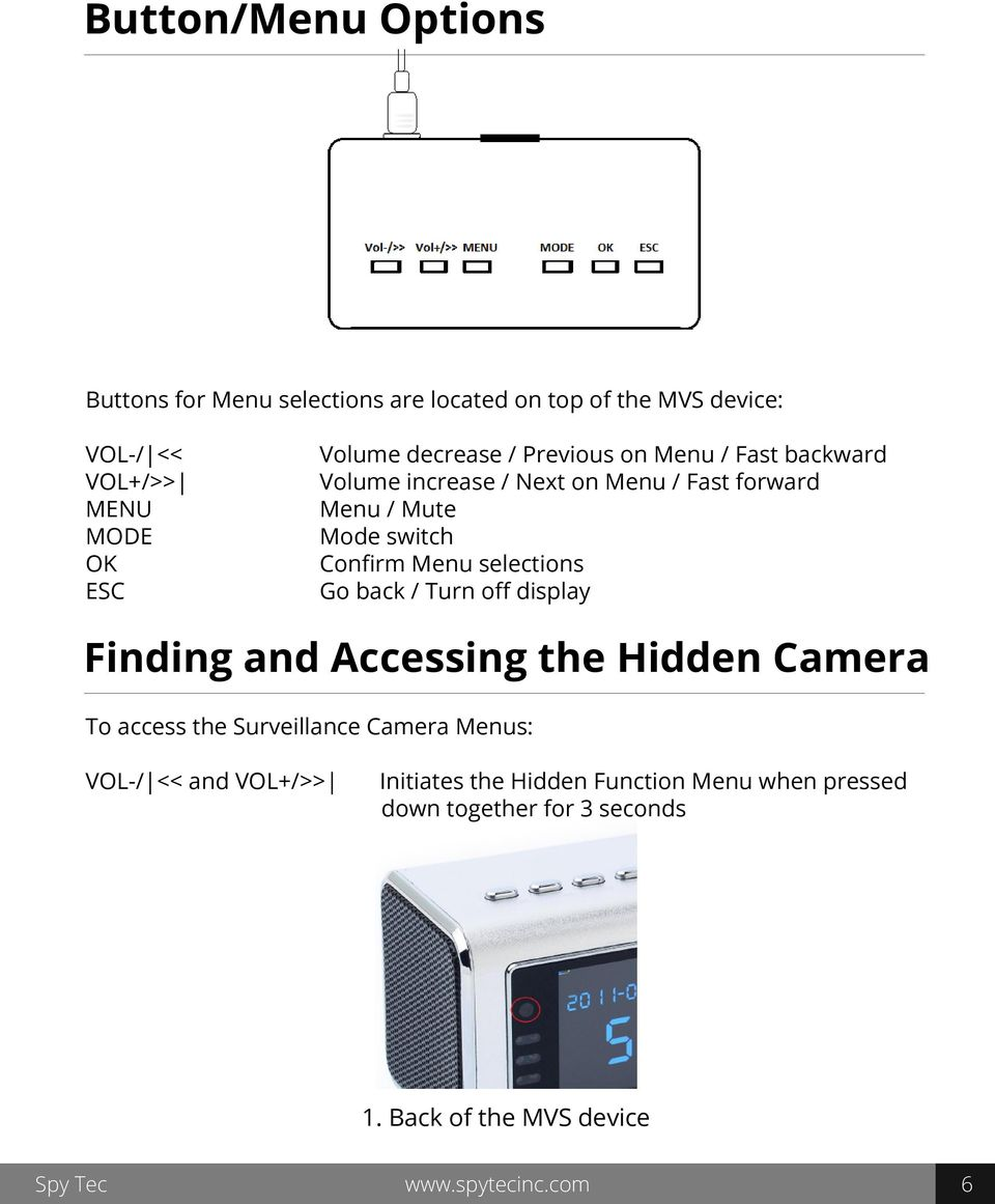 selections Go back / Turn off display Finding and Accessing the Hidden Camera To access the Surveillance Camera Menus: VOL-/ <<