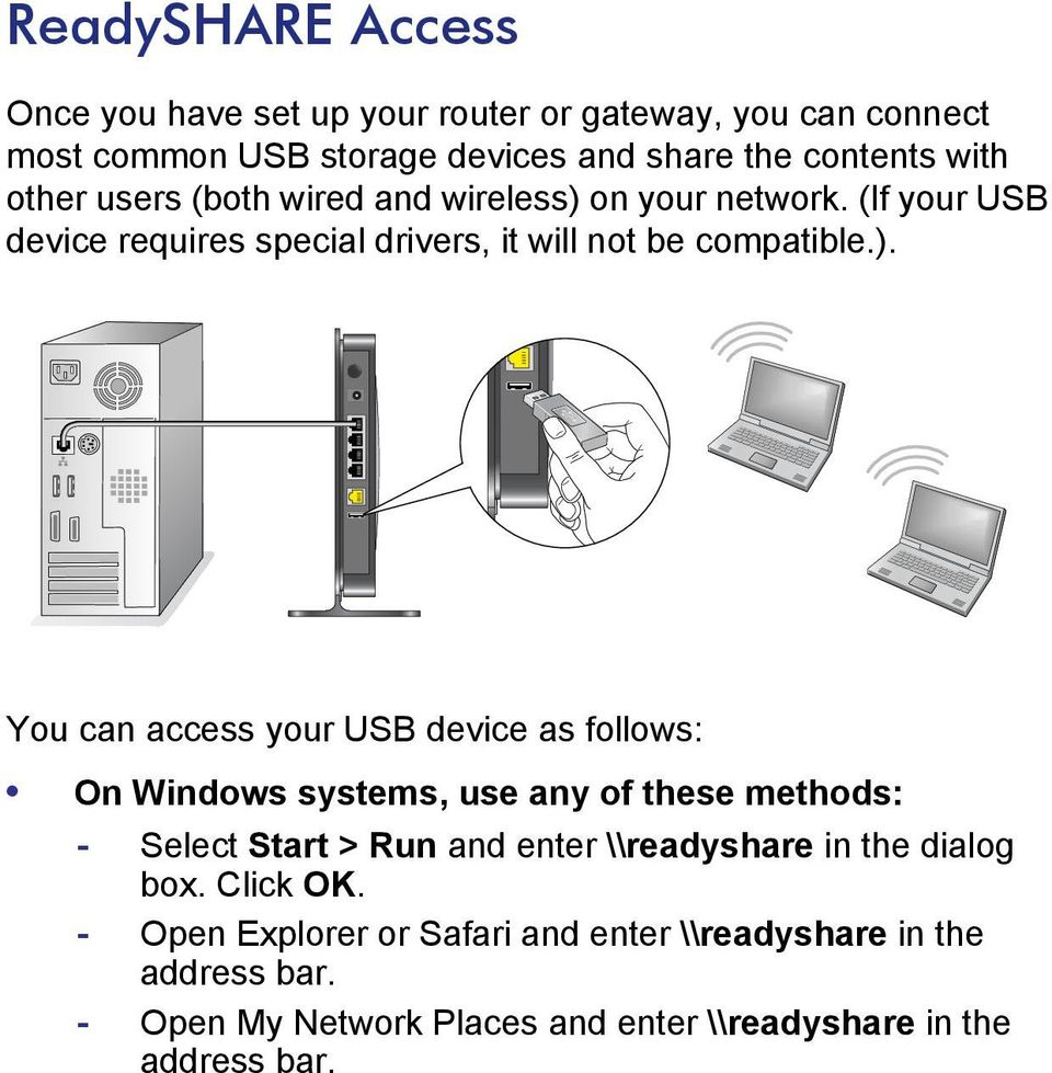 on your network. (If your USB device requires special drivers, it will not be compatible.).