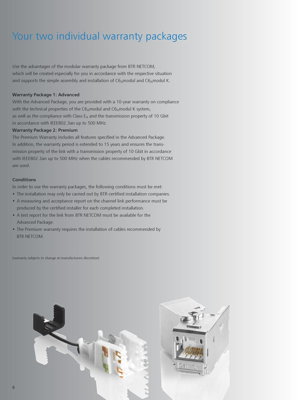 Warranty Package 1: Advanced With the Advanced Package, you are provided with a 10-year warranty on compliance with the technical properties of the C6 A modul and C6 A modul K system, as well as the