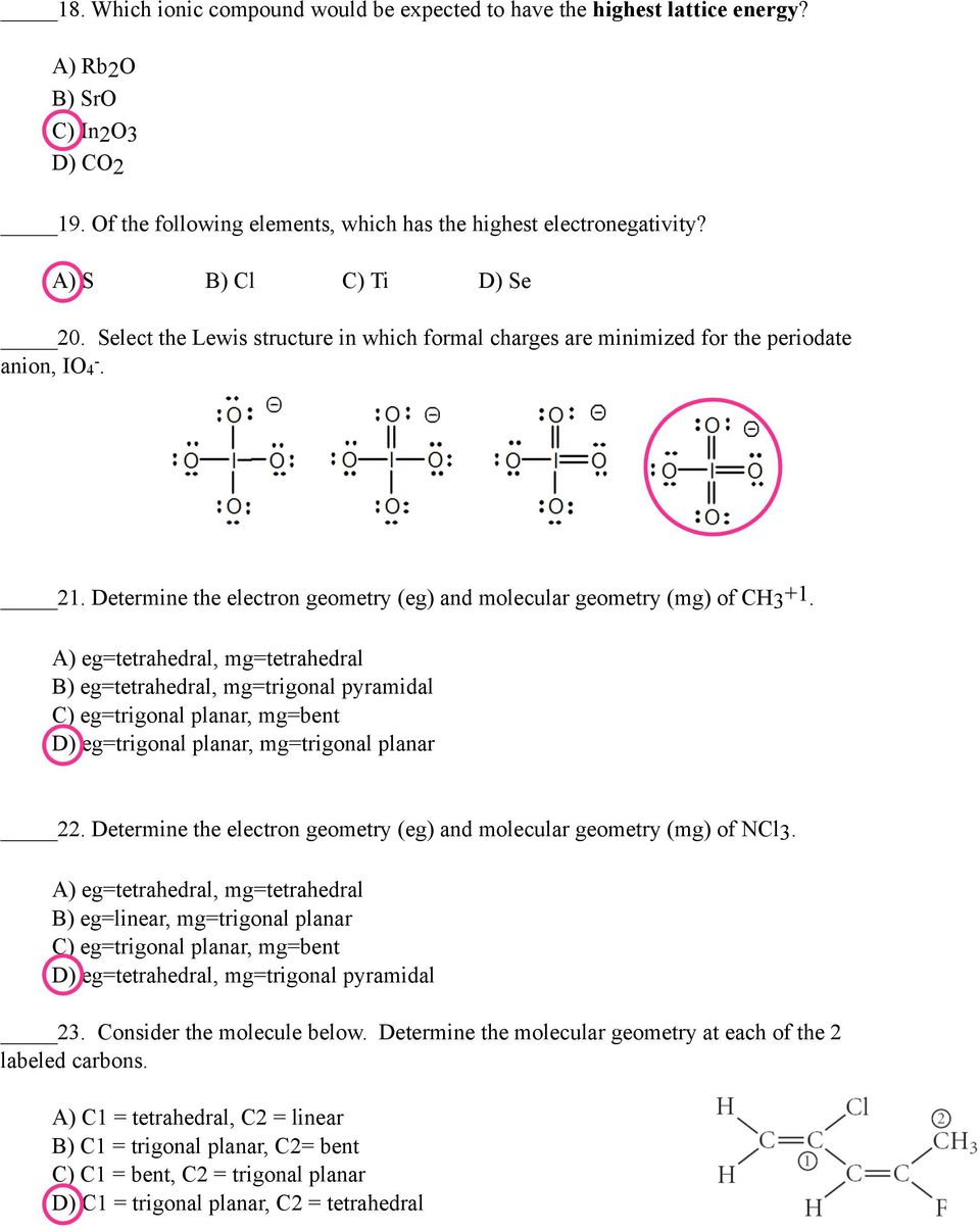 Determine the electron geometry (eg) and molecular geometry (mg) of CH3 +1.
