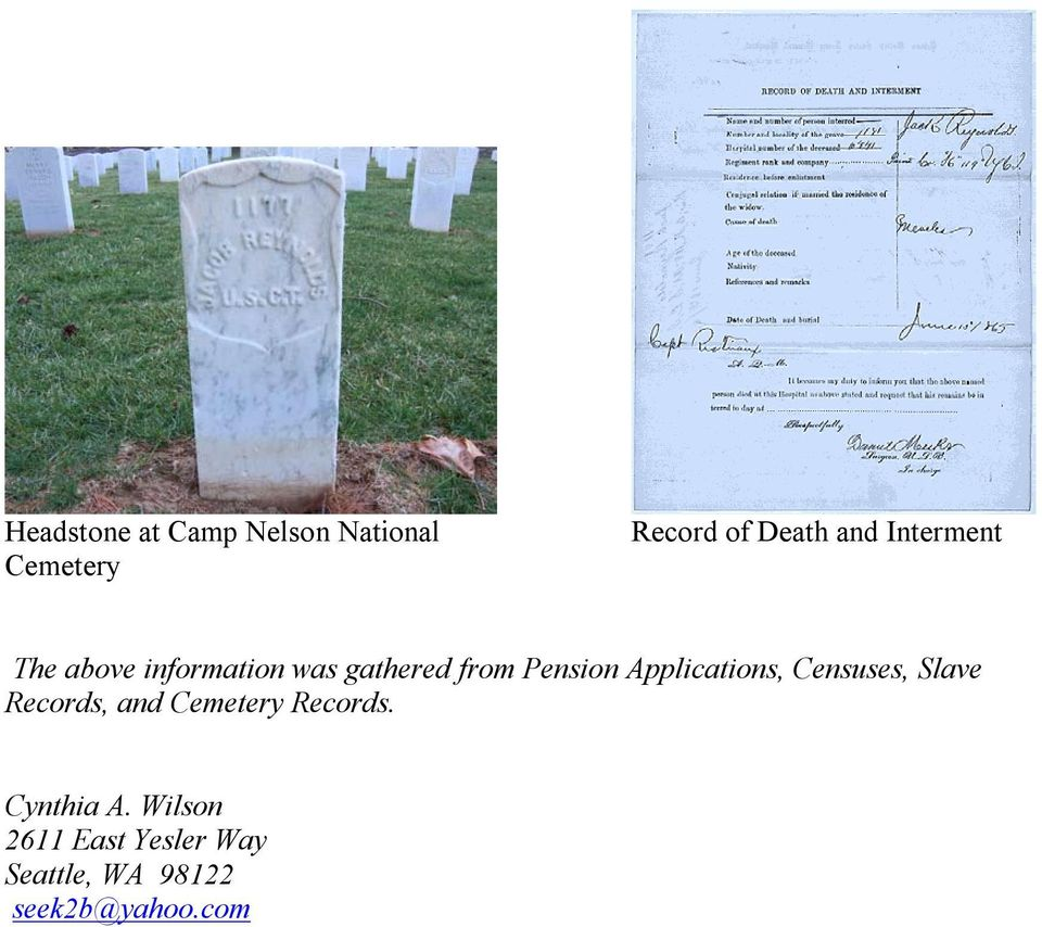 Applications, Censuses, Slave Records, and Cemetery Records.