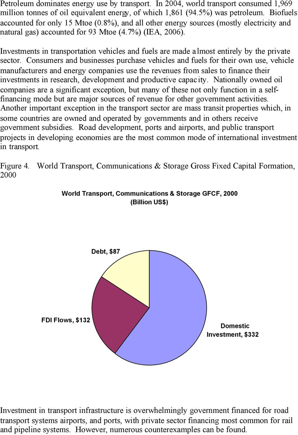 Investments in transportation vehicles and fuels are made a lmost entirely by the private sector.