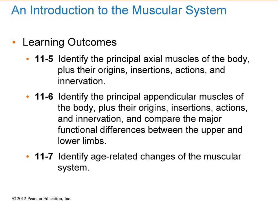 11-6 Identify the principal appendicular muscles of the body, plus their origins, insertions, actions, and