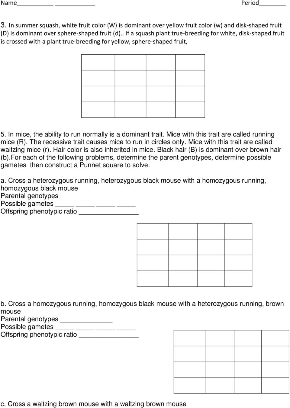 worksheet Dihybrid Cross Problems Worksheet ex a tall green pea plant ttgg is crossed with short white mice this trait are called running r the recessive causes
