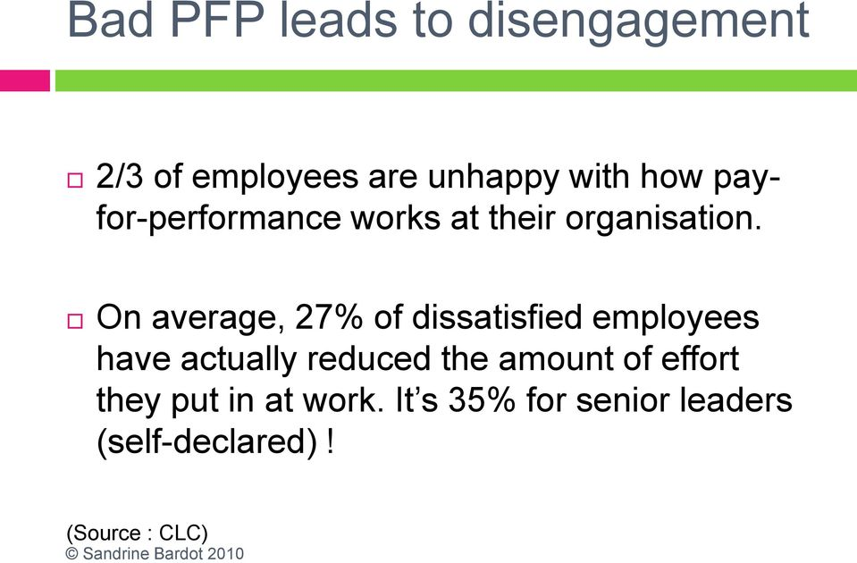 On average, 27% of dissatisfied employees have actually reduced the
