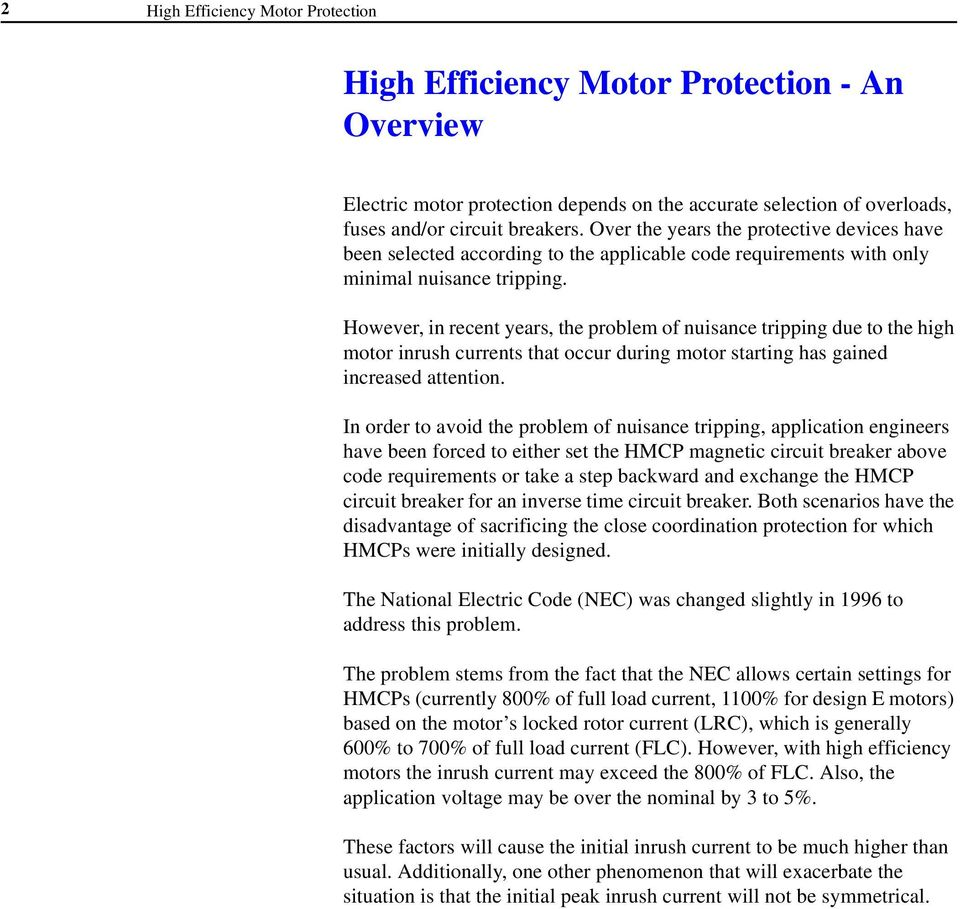 High Efficiency Motor Protection Industry White Paper Pdf Basics Of Circuit Breakers For Electrical Engineers Additional Info However In Recent Years The Problem Nuisance Tripping Due To