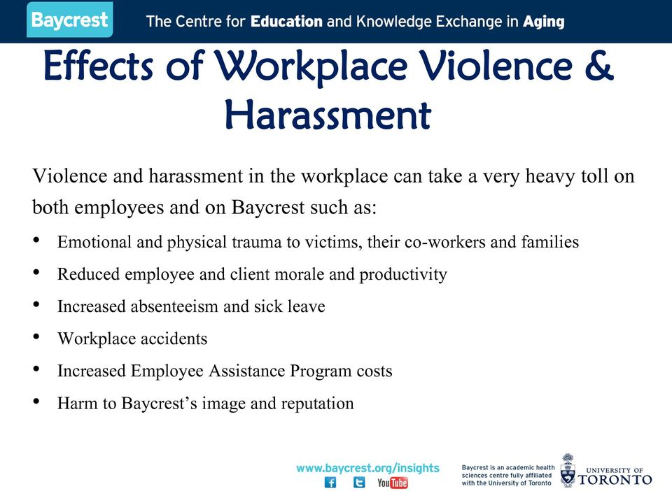 co-workers and families Reduced employee and client morale and productivity Increased absenteeism and