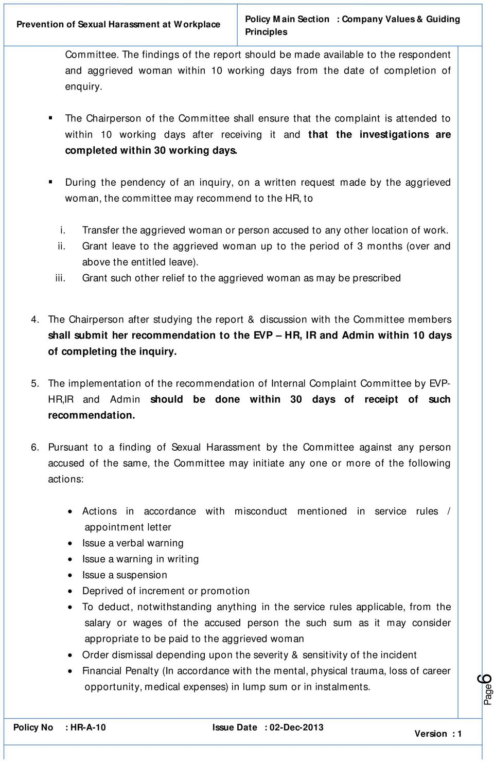 policy on prevention of sexual harassment at the workplace pdf during the pendency of an inquiry on a written request made by the aggrieved w