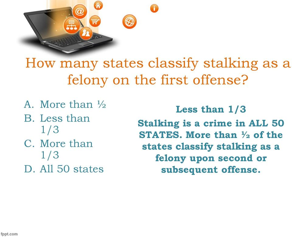 All 50 states Less than 1/3 Stalking is a crime in ALL 50 STATES.