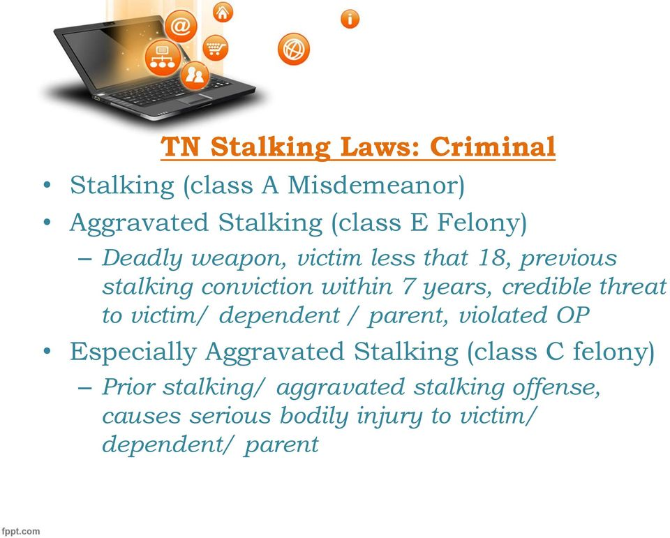 to victim/ dependent / parent, violated OP Especially Aggravated Stalking (class C felony) Prior