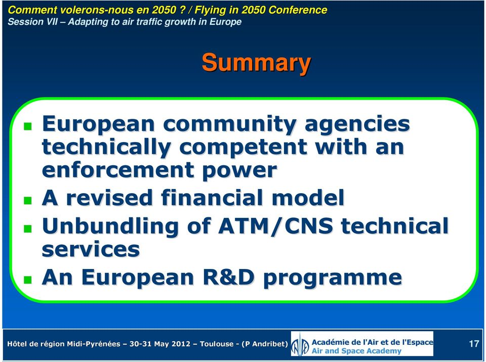 model Unbundling of ATM/CNS technical services An