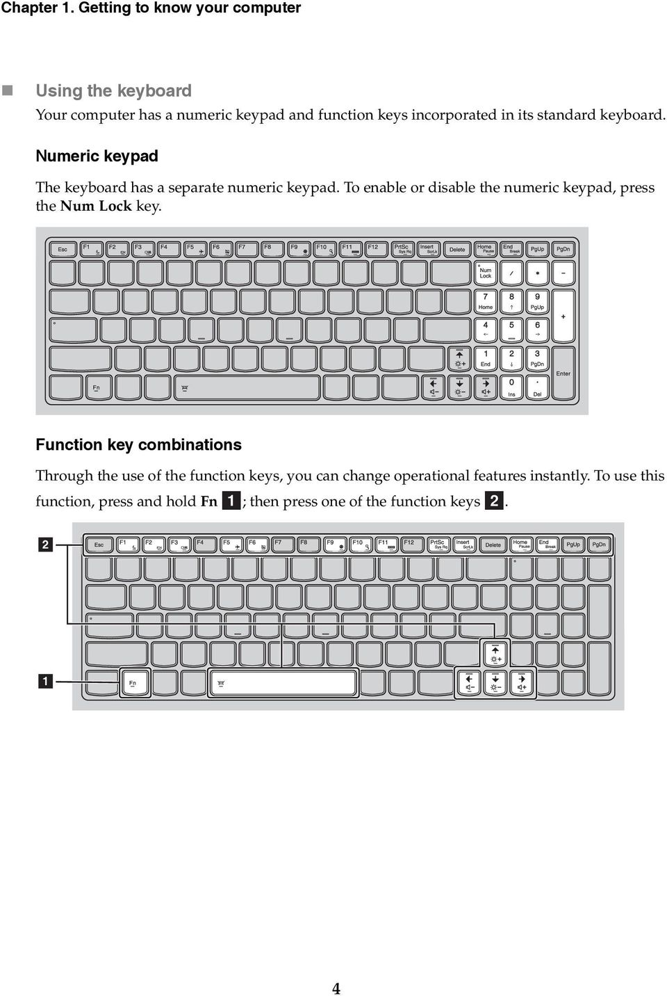 its standard keyboard. Numeric keypad The keyboard has a separate numeric keypad.