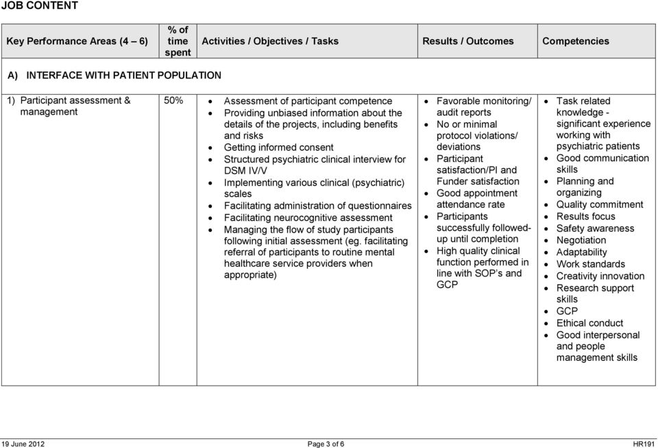 for DSM IV/V Implementing various clinical (psychiatric) scales Facilitating administration of questionnaires Facilitating neurocognitive assessment Managing the flow of study participants following
