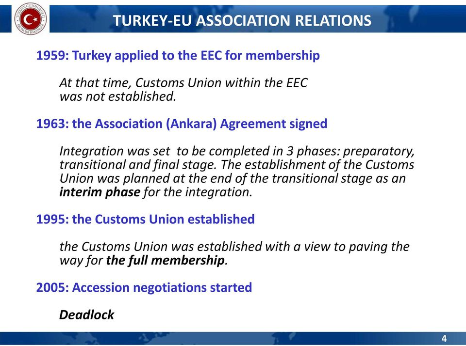 The establishment of the Customs Union was planned at the end of the transitional stage as an interim phase for the integration.