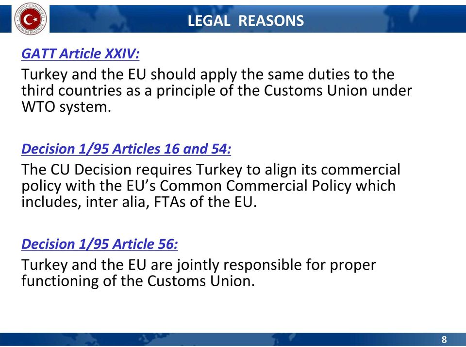 Decision 1/95 Articles 16 and 54: The CU Decision requires Turkey to align its commercial policy with the EU s