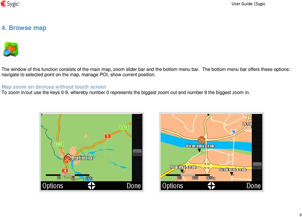 The bottom menu bar offers these options: navigate to selected point on the map, manage POI,