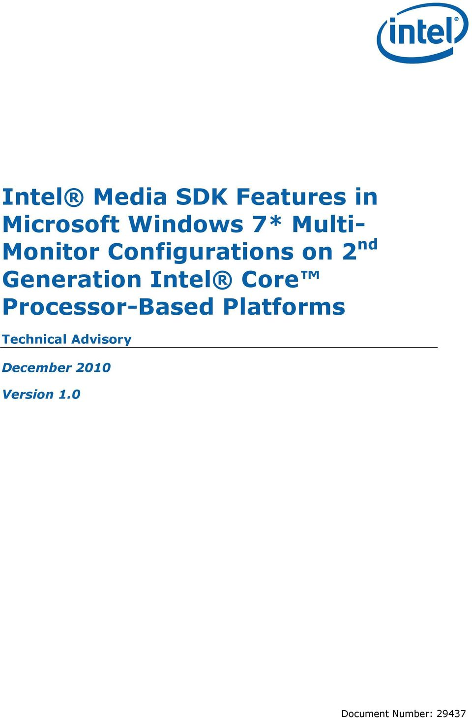 Intel Core Processor-Based Platforms Technical