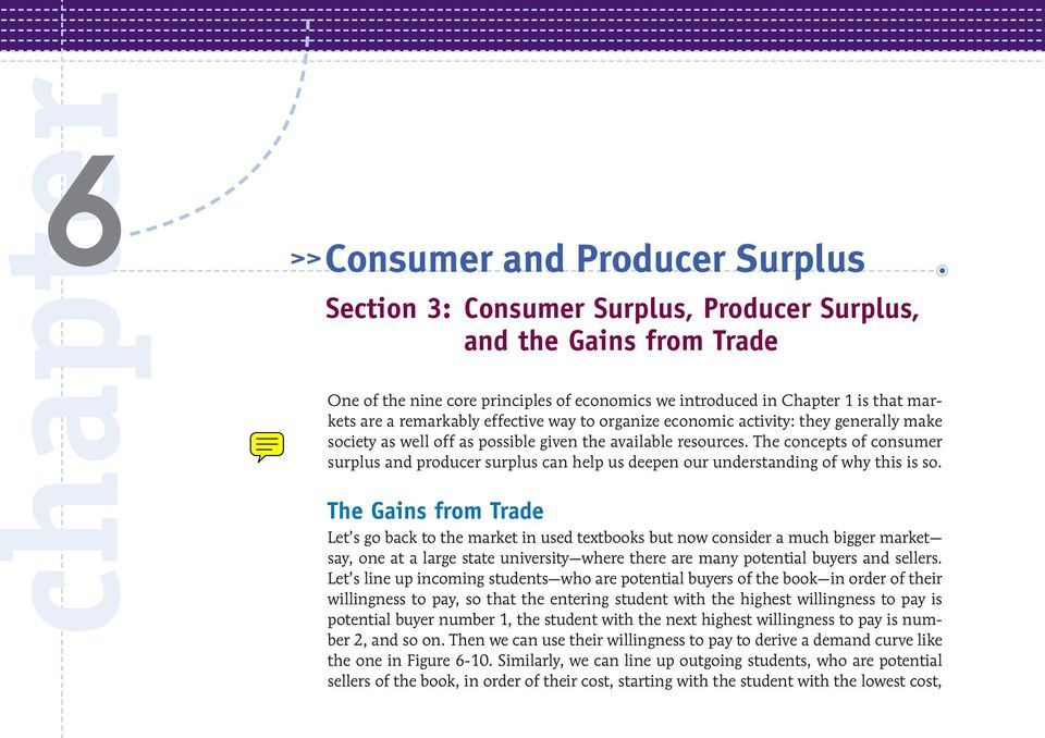 The concepts of consumer surplus and producer surplus can help us deepen our understanding of why this is so.