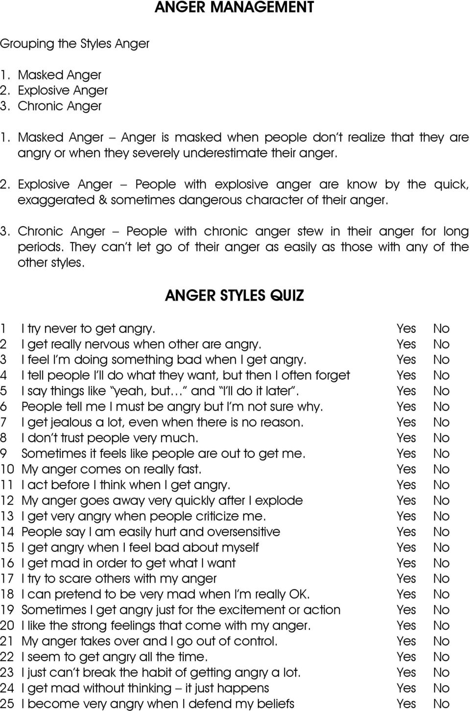 image regarding Anger Management Quiz Printable identify ANGER Regulate ANGER Layouts QUIZ - PDF