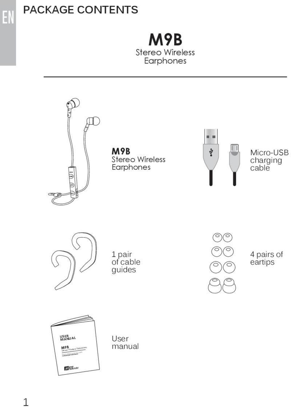 cable guides 4 pairs of eartips USER MANUAL M9B Stereo