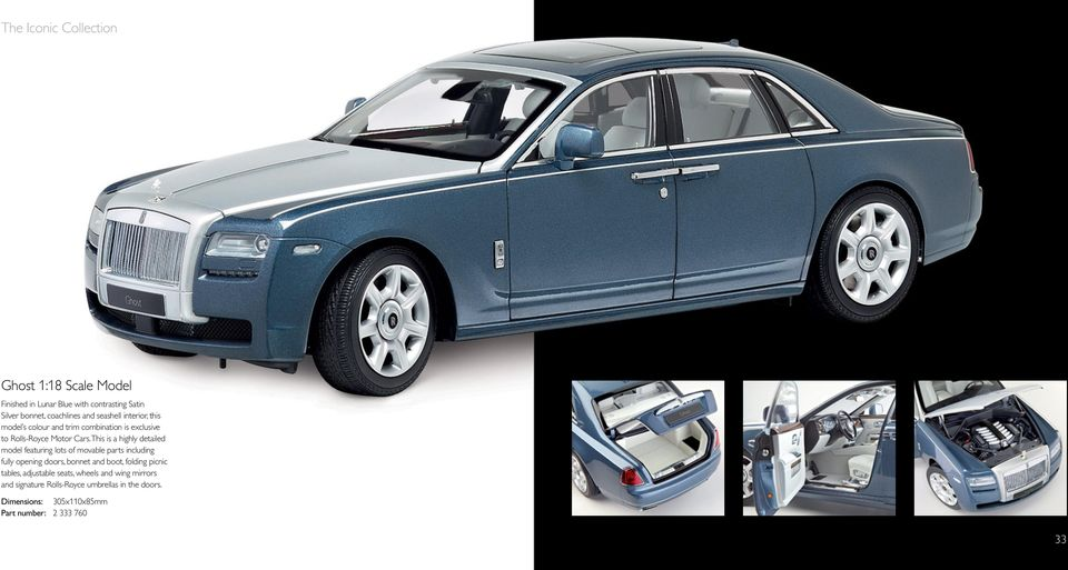 This is a highly detailed model featuring lots of movable parts including fully opening doors, bonnet and boot, folding
