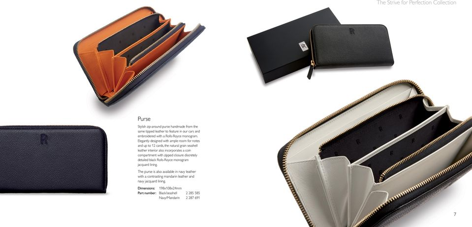 Elegantly designed with ample room for notes and up to 12 cards, the natural grain seashell leather interior also incorporates a coin compartment