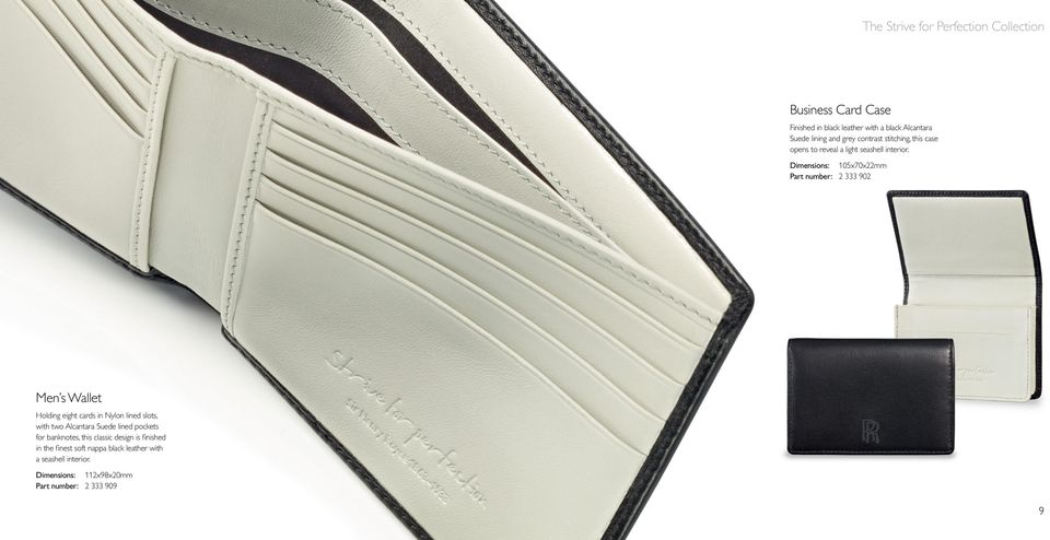 Dimensions: 105x70x22mm Part number: 2 333 902 Men s Wallet Holding eight cards in Nylon lined slots, with two Alcantara