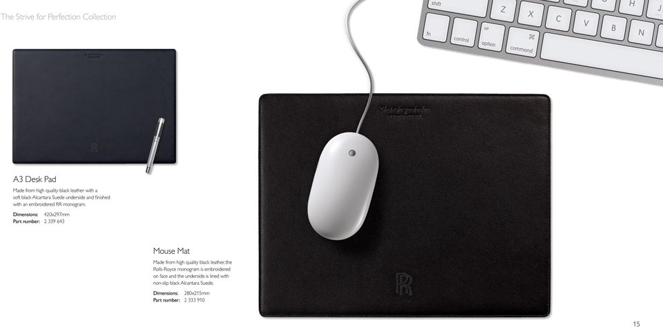 Dimensions: 420x297mm Part number: 2 339 643 Mouse Mat Made from high quality black leather, the