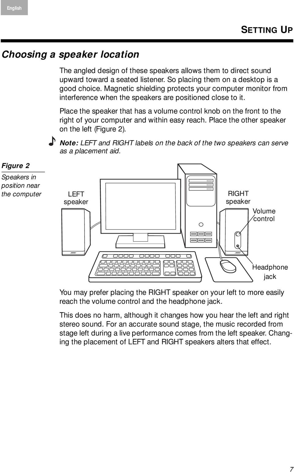 Place the that has a volume control knob on the front to the right of your computer and within easy reach. Place the other on the left (Figure 2).