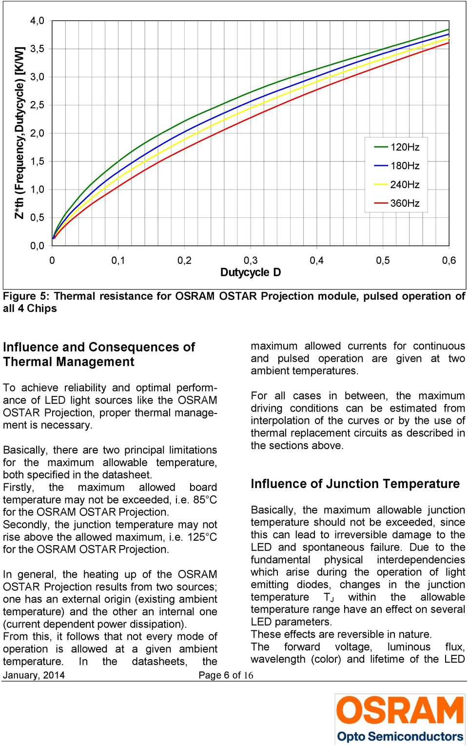management is necessary. Basically, there are two principal limitations or the maximum allowable temperature, both speciied in the datasheet.