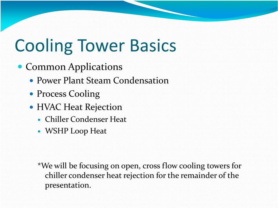 cooling tower introduction Cooling towers allow water to be cooled by ambient air through evaporation  they have two types of air  introduction about the plant general plant details  and.