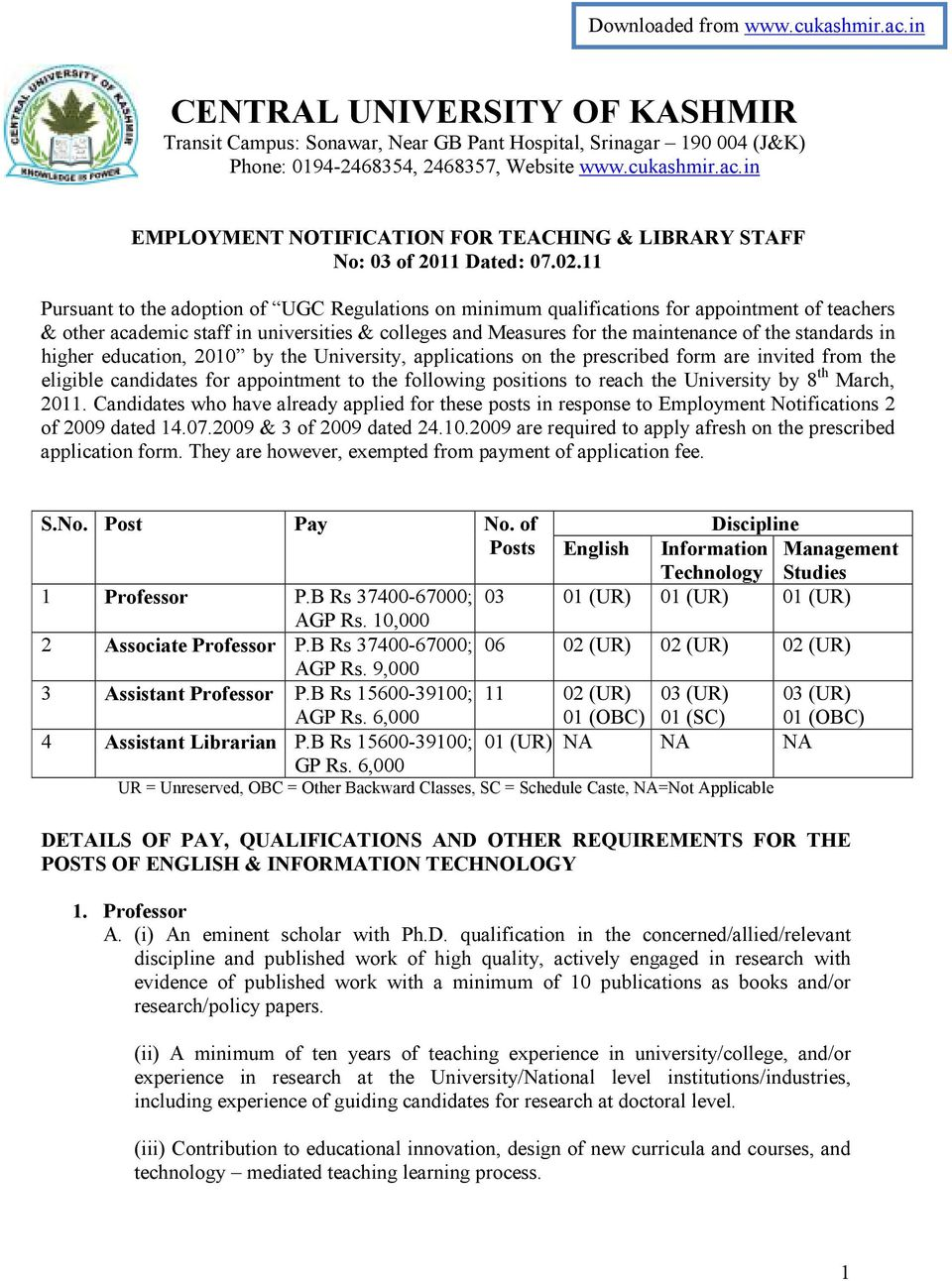 standards in higher education, 2010 by the University, applications on the prescribed form are invited from the eligible candidates for appointment to the following positions to reach the University